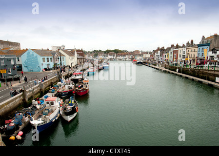 fishing boats in Weymouth harbour - Stock Photo