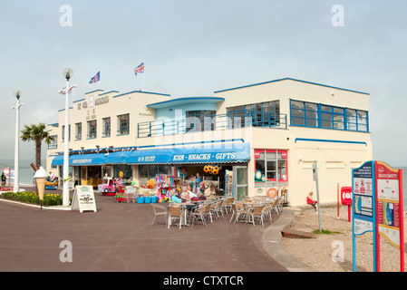 the pier bandstand art deco building on Weymouth seafront - Stock Photo