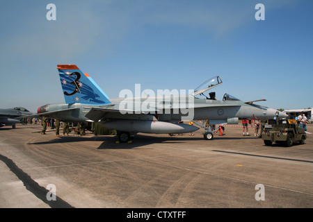 Royal Australian Air Force F/A-18A Hornet during an open house at Darwin airport - Stock Photo