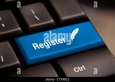 Closeup of register key in a modern keyboard. - Stock Photo