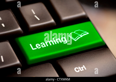 Computer Keyboard e-Learning Concept. - Stock Photo