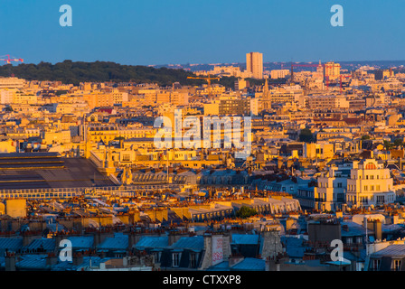 Paris, France, Skyline From Montmartre Hill, Looking to North East at Sunset - Stock Photo