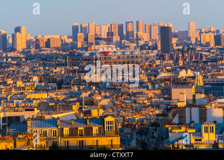 Paris, France, Skyline Looking to East at Sunset, 'George Pompidou Museum' and Parisian Rooftops - Stock Photo