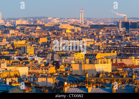 Paris, France, Skyline From Montmarte Hill, Looking to East at Sunset - Stock Photo