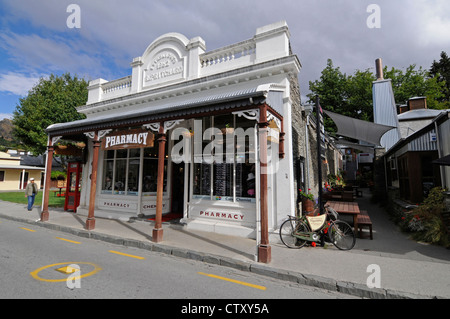 A pharmacy in old gold mining town, Arrowtown with its original buildings in the Buckingham Street, Otago,New Zealand. - Stock Photo