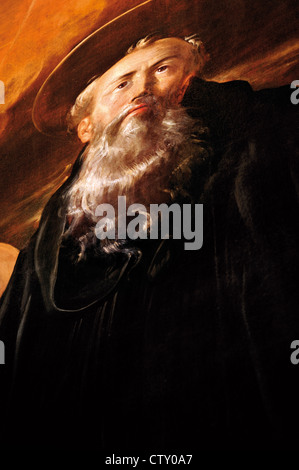 Spain, La Rioja: Oil painting of monk San Millan in the church of Monastery of Yuso in San Millan de la Cogolla - Stock Photo