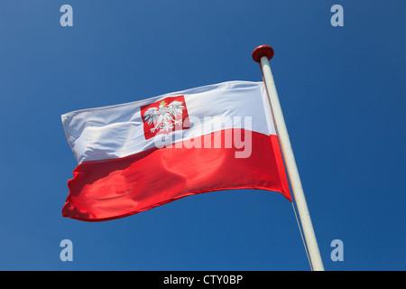 Polish national flag in the sky. - Stock Photo