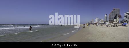 Mediterranean beach scene in Tel Aviv, Israel - Stock Photo