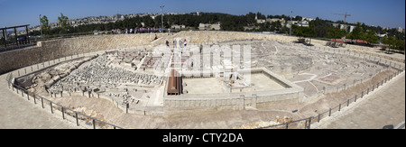 Panoramic view of the 50:1 scale Second Temple Model at the Israel Museum in Jerusalem, Israel - Stock Photo
