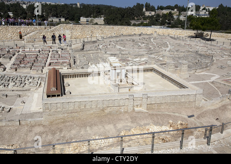 50:1 scale Second Temple Model at the Israel Museum in Jerusalem, Israel - Stock Photo