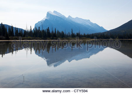 Mount Rundle Reflection in Vermillion Lakes, Banff National Park, Alberta, Canada - Stock Photo