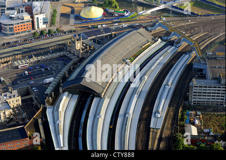 An aerial view of Bristol Temple Meads railway station. - Stock Photo
