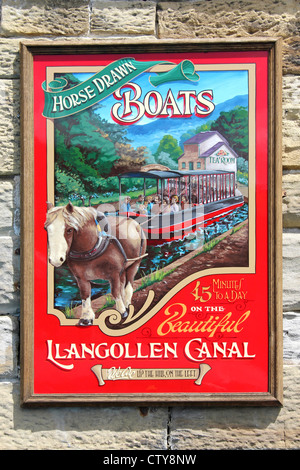 Poster Advertising Horse Drawn Boats On The Llangollen Canal, Wales - Stock Photo
