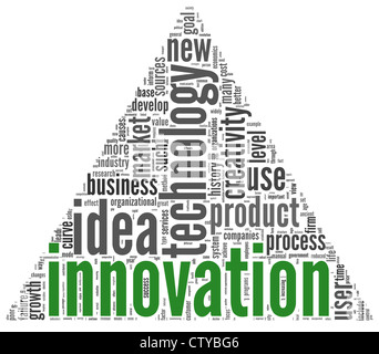 Innovation and technology and product concept related words in tag cloud on white - Stock Photo
