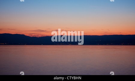 Sunset over Lac Leman - Stock Photo