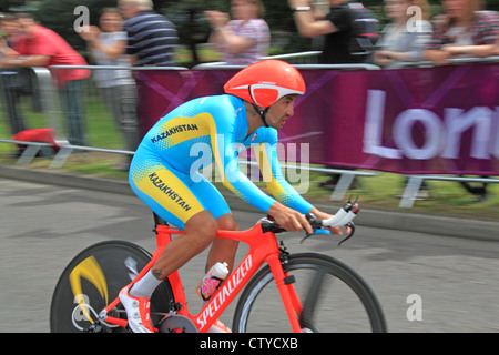 London 2012 Olympic Men's Cycling Time Trial. East Molesey, Surrey, England, UK, Europe. Assan Bazayev, Kazakhstan, - Stock Photo