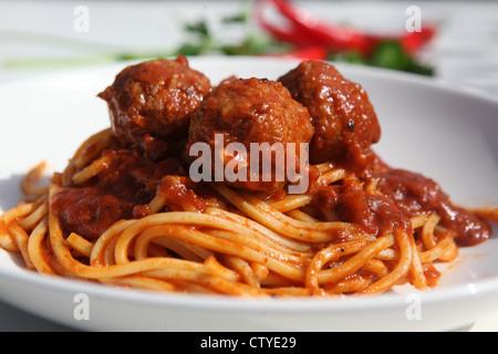 Spaghetti, meatballs and tomato sauce - Stock Photo