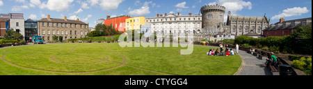 Dublin Castle grounds and park, Dublin City Ireland - Stock Photo