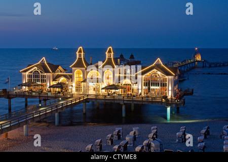 pier of Sellin, Ruegen Island, Baltic Sea Coast, Mecklenburg-West Pomerania - Stock Photo