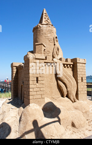 sand sculpture in front of the pier, Binz, Ruegen Island, Baltic Sea Coast, Mecklenburg-West Pomerania, Germany - Stock Photo