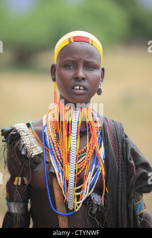 Tribal girl, Omo valley in Ethiopia, Africa - Stock Photo