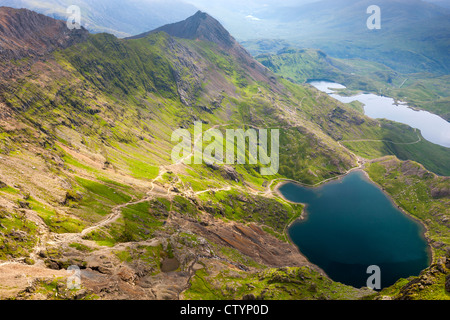 View from Mount Snowdon over Glaslyn and Llyn LLydaw, Snowdonia National Park, Wales