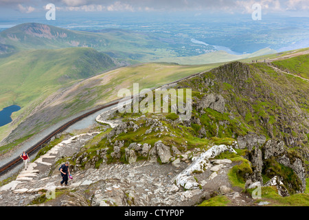 People walking along the Llanberis Path one of the routes up Snowdon, Snowdonia National Park, Wales, UK, Europe