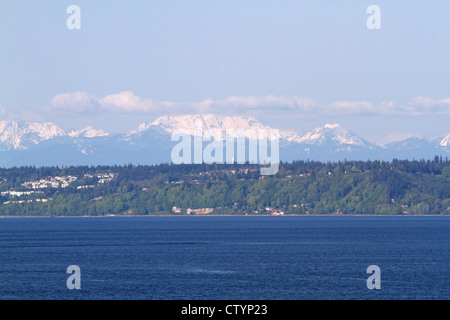 A view of the Cascade mountains in Canada from MS Oosterdam on the way to Alaska in May 2012 - Stock Photo