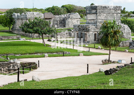 Tulum Maya archaeological site, Tulum, Riviera Maya, Quintana Roo, Mexico. - Stock Photo
