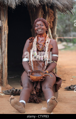 Tribal woman in Omo valley, Ethiopia (Hamar tribe) - Stock Photo