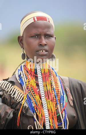 Young Hamar girl, in the Omo valley in Ethiopia, Africa - Stock Photo