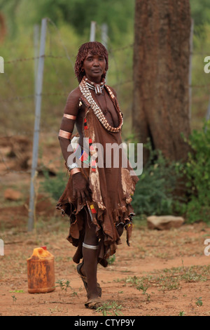 Hamar woman, Omo valley, Ethiopia - Stock Photo