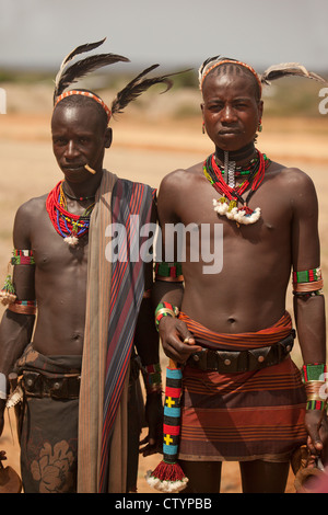 Young warriors, Omo-valley, Ethiopia, from the Hamar tribe. - Stock Photo