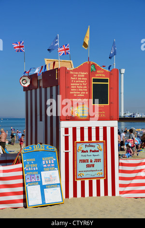 Punch & Judy Show theatre on beach, Weymouth, Dorset, England, United Kingdom - Stock Photo