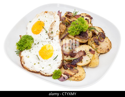 Fried Potatoes and Egg isolated on white background - Stock Photo