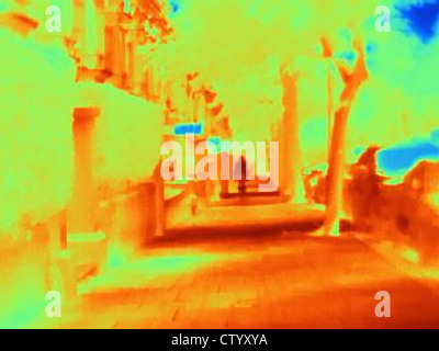 Thermal image of city street - Stock Photo