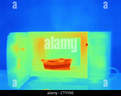 Thermal image of microwave - Stock Photo