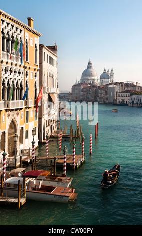 View over Grand Canal towards Basilica di Santa Maria della Salute from Accademia Bridge, Venice, Veneto region, - Stock Photo