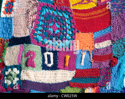 Detail of patchwork knitting at the Port Eliot Literary Festival St Germans Cornwall UK - Stock Photo