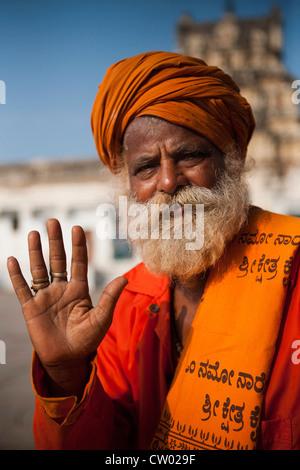 Portrait of a Sadhu at the Virupaksha Temple, Hampi, Karnataka state, India - Stock Photo