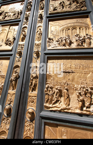 Bronze doors by Lorenzo Ghilberti at the Baptistry Florence - Stock Photo & Bronze Doors with Relief Sculptures by Lorenzo Ghiberti Florence ... Pezcame.Com