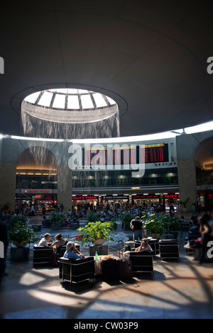 Middle East. Israel. Tel Aviv. Passengers in 'Ben Gurion' Airport Terminal building concourse. - Stock Photo