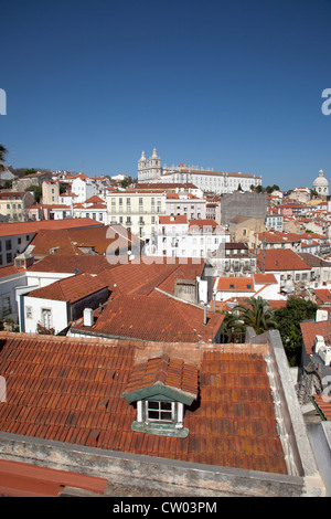 Aerial view of village rooftops - Stock Photo