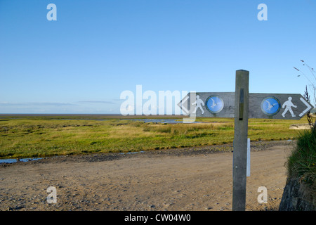 Anglesey Coastal Path sign at Red Wharf Bay, Anglesey, North Wales - Stock Photo