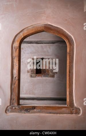 ... Interior Window Between Two Rooms In A Barn Conversion In Progress  Warwickshire, UK   Stock