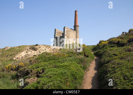 wheal prosper, an old tin mine at rinsey head owned by the national trust on the south cornish coast - Stock Photo