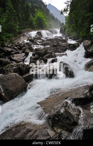 Waterfall near the Pont d'Espagne in the Hautes-Pyrénées near Cauterets, Pyrenees, France - Stock Photo
