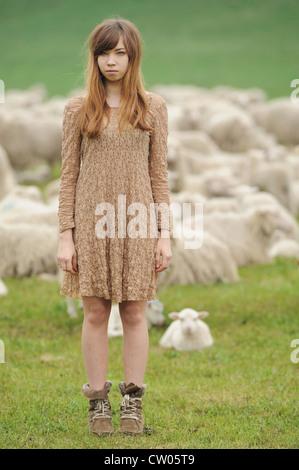 Teenage girl standing in field of sheep - Stock Photo