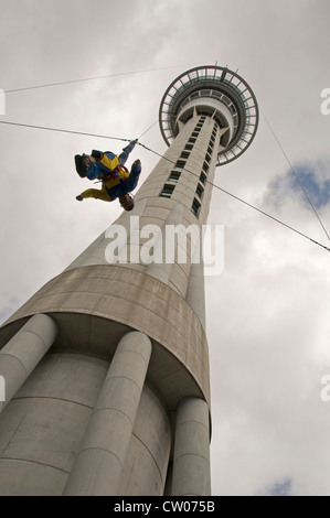 A sky jump last 11 seconds from the Sky Tower in Auckland, New Zealand. - Stock Photo