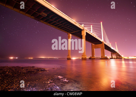 Star filled night across the Moray Firth and Kessock Bridge Highland Scotland - Stock Photo